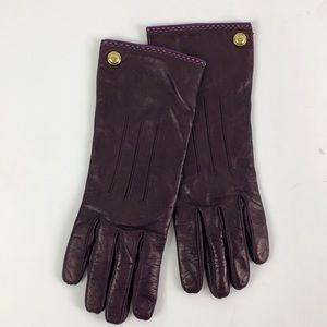 Coach Leather Plum Gloves